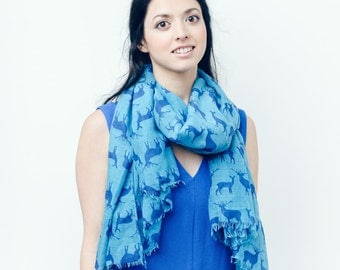 Blue Fawn Reindeer/Stag/Deer Print Scarf/Wrap/Shawl/Cover Up/Scarves/Gift/Christmas
