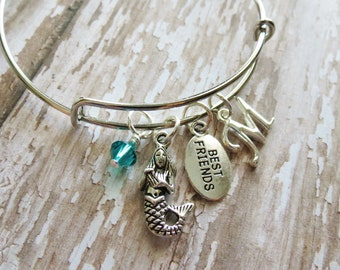 Mermaid Friendship Bracelet, Expandable Bangle, Personalized, Birthstone, Mermaid Friendship Bracelet, Birthday Gift, Bestie, BFF, Ariel