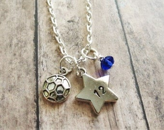 Soccer Necklace, Soccer Charm Necklace, Soccer Pendant Necklace, Hand Stamped, Soccer Team Gift, Player Number, Personalized, Soccer Star