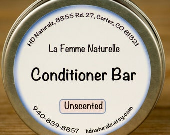 Solid Conditioner, Unsented, Travel Bar, Hair Detangler, Gift for Her, Cocoa Butter, Conditioner Bar