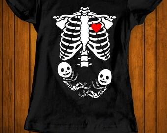 Skeleton children funny Halloween costume t-shirt tee shirt tshirt family rib cage women's ladies pregnancy maternity pregnant twins babies