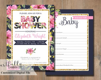 Baby Shower Invitation | Floral | Double Sided | DIY Printable | Customized Card