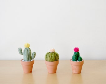 Mini Crocheted Cacti Trio