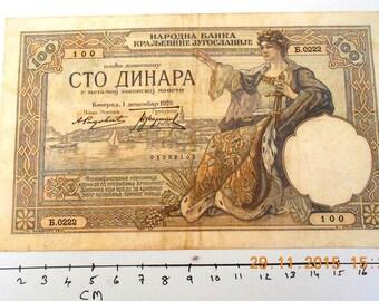 Banknote Yugoslavia 100 Dinara 1929 VG Condition
