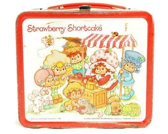 Vintage Strawberry Shortcake Metal Lunch Box