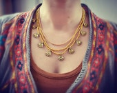 Brass Tribal Necklace 3 Strings Gold Metal Hippie Bohemian Ethnic Nomad Orient Gipsy