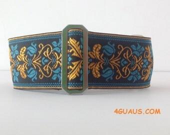 Martingale Jaquard Azul and orange  or Buckle Martingale  or Buckle . Adjustable. Handmade - 4GUAUS.COM