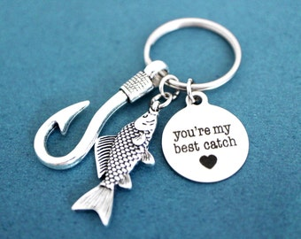 You're my best catch, Fish, Hooks, Heart, Key ring, You are my best catch, Love, Key chain, Best friends, Lovers, Birthday, Gift, Keychain