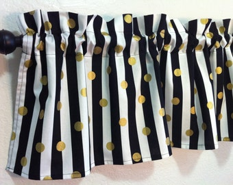 Black and Gold Valance, 42 Inches, Window Valance, Black and White Stripe with Gold Dots, Window Treatment, Living Room