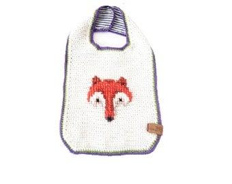 Crocheted bib fox