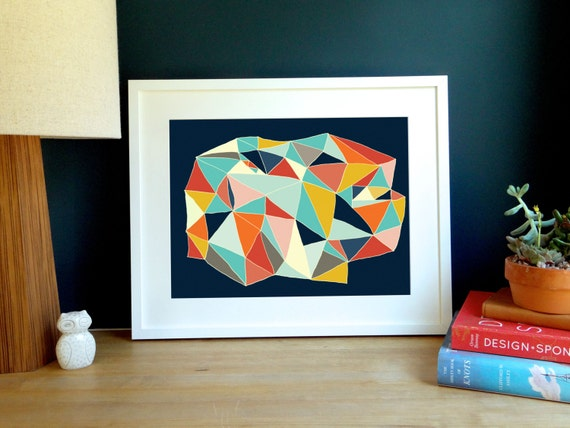 Deep Navy Geometric Archival Print