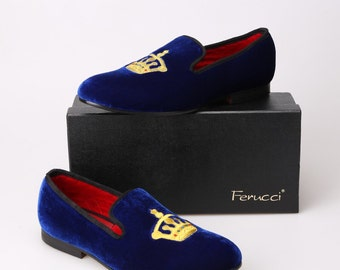 Handmade  FERUCCI Men blue Velvet Slippers loafers with Crown davucci
