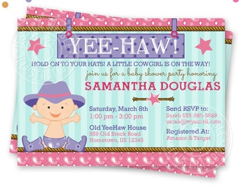Cowgirl Baby Shower Printable Invitation, Custom Cowgirl Baby Invitation, Printable Western Baby Shower Invitation, Baby Cowgirl Shower v4