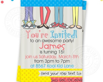 Boys Cool Teen Party Printable Invitation, Custom Teen Party Invitation, Printable Teen Boy Birthday Party Invitation, Boys Feet Invitation