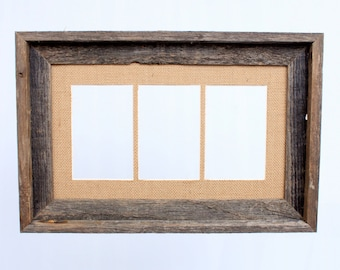 "Barnwood 4x6"" Signature Picture Frame, Burlap Mat, 3 Multi Opening Photo Frame Set"