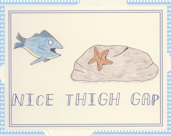 Funny Card, Snarky Card, Sarcastic Card, Funny Greeting Card, Just Because Card, Humor Card, Fish Card, Starfish Card