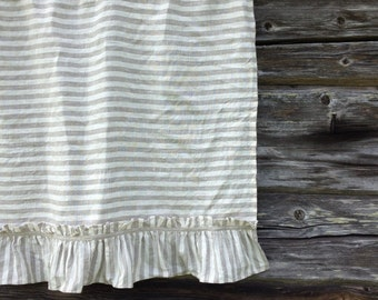 Linen Valance with Ruffles, Striped Linen Curtain, Window Panel French Country Curtain, Shabby Chic Cafe Curtains