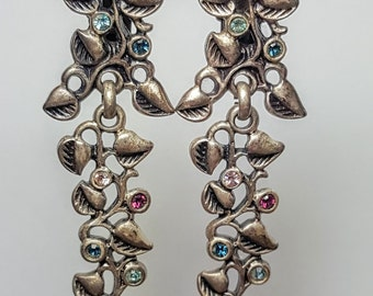 Vintage Larger dangle earrings clip on. Signed AGIL. 1980s. Silver tone with colorful rhinestones.