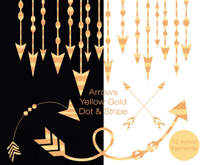 YELLOW ARROW Clip Art Commercial Use Clipart Arrow Graphics Yellow Arrow Border Frame Banner Polka Dot Stripe Tribal Digital Arrow Images