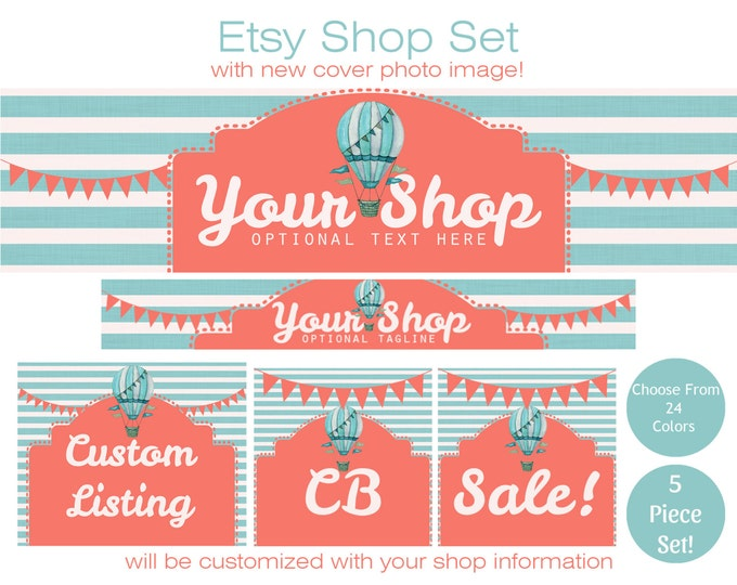 Hot Air Balloon ETSY SHOP SET-Choose Your Font - Cover Photo Banner Icon Horizontal Stripes & Bunting Banners Business Branding Customized