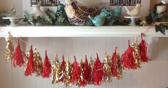 red and gold tassel garland baby shower decor tissue paper banner
