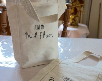 Bridesmaid Gifts - Wine Tote Bags - Maid of Honor Gift Bridal Party Gifts