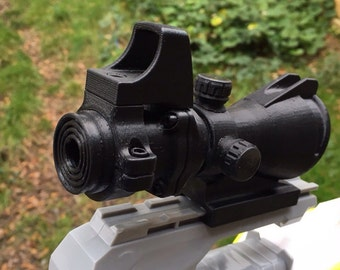 3D Printed Hybrid Scope - ACOG Sight, Reddot Sight, Rifle, Nerf Gun Accessory