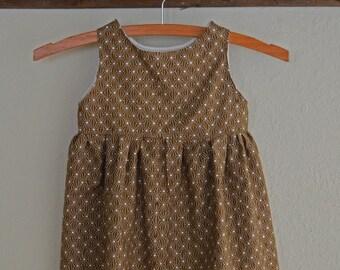 Brown Graphic Toddler Dress - Baby Girl Dress - Vintage Inspired - Baby Summer Dress