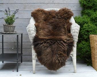 Luxury Sheepskin Rug, Throw, Blanket, Rare Breed BROWN