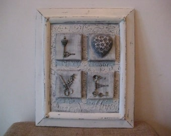wooden frame with decoration,shabby decor,vintage style wall decor,home decor