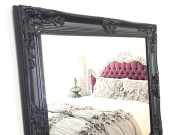 LARGE Black Framed Wall Mirror Bathroom Mirror Shabby Chic Mirror Nursery Mirror Baroque Ornate Mirror Custom Colors Available