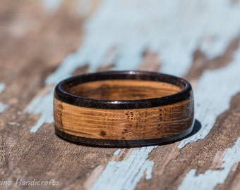 tennessee whiskey barrel and ebony wood ring whiskey barrel ring mens wedding band womens wooden - Wood Wedding Ring