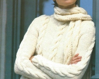 knit womans Aran Pullover Sweater Round Neck with Long Scarf  long sleeves jumper tunic  vintage pattern instant download pdf