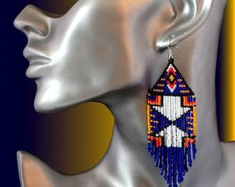 new! beautiful earrings Indian flame, evening elegance, woven