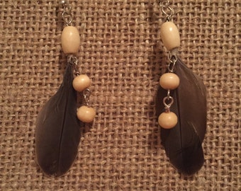 Tan feather earrings with chain tassel - boho earrings