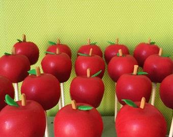 12 Red Apple Cake Pops