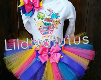 Handmade Shopkins tutu set / Shopkins birthday outfit / Shopkins birthday shirt / Shopkins tutu outfit / Shopkins birthday ideas