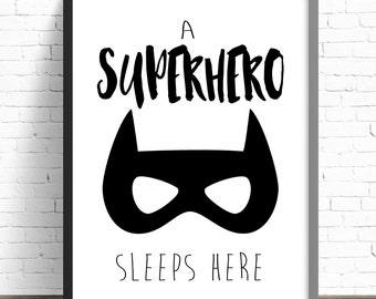 Superhero Nursery Print | Batman Nursery | Boys Bedroom Wall Art Prints | A Superhero Sleeps Here | Superhero & Batman Prints | Monochrome
