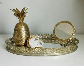 mirrored vanity tray perfume tray vintage vanity tray mirror tray bathroom tray