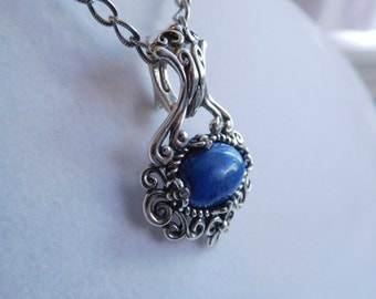 Sterling Silver Denim Lapis  Fancy Filigree Pendant Necklace