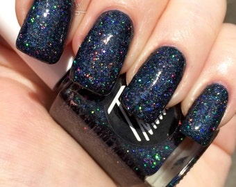 Guns - charcoal holographic glitter nail polish