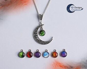 Moon necklace Halloween necklace Cresent moon Celtic moon Witch necklace Witch jewelry Halloween jewelry Marble necklace Witchy gift for her