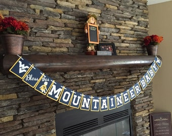 Bless This Mountaineer Baby Shower Banner Baby Shower Party Decorations WVU baby shower West Virginia University Party Decorations Baby