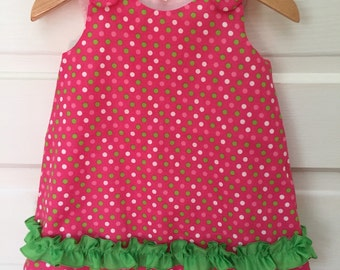 Pink & Green Polka Dots A-Line Dress