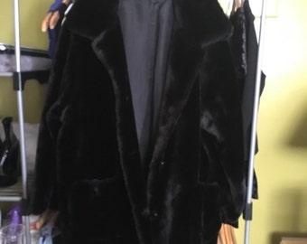 Long Black Faux Fur Coat