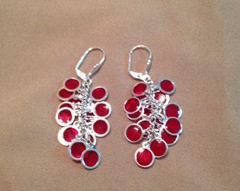 Red & Silver Earrings