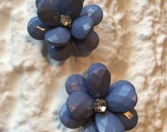 Blue flower flip flop accessories with diamante detail