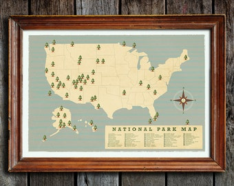 National park checklist, National parks map, National park list,