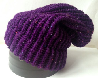Purple Knitted Slouch Beanie - Made to Order Adult/Teen Loom Knit Hat
