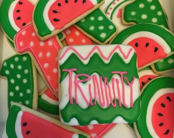 Watermelon theme #2 Decorated Cookies